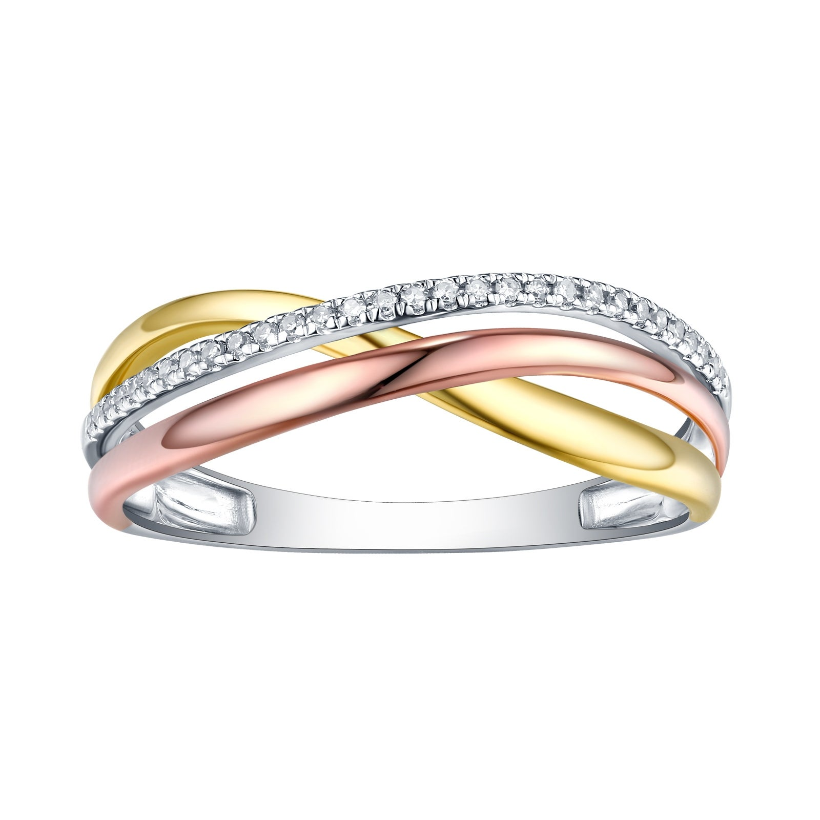 10k Tri Color Gold Prism Jewel Natural G-H//I1 Round Diamond Criss Cross Ring