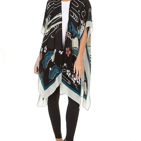 Laundry By Shelli Segal Women Sheer Loose Kimono Cardigan Cape Cover Up Blouse