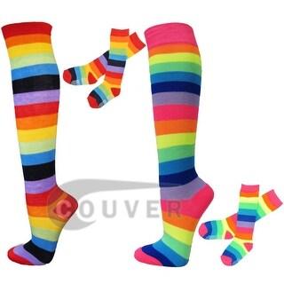 Girls Rainbow Knee High Socks with Non-Skid Bottom 6 Pairs(3 Classic / 3 Neon Rainbow)