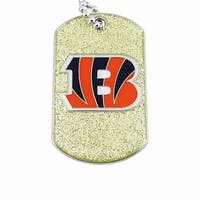 Cincinnati Bengals Dog Fan Tag Glitter Sparkle Necklace