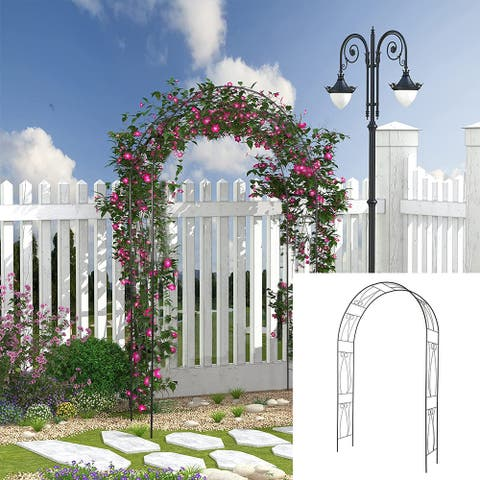 Kinbor Outdoor Garden Arch Arbor, Steel Arch Arbor w/ Scrollwork, Wedding Metal Arch for Climbing Plants