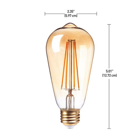 60W Equivalent(2150K) Vintage Edison ST19 Dimmable LED Bulb,4-Pk - Amber