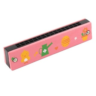 Unique BargainsWooden Frame Cartoon Pattern Dual Rows 32 Holes Harmonica Pink