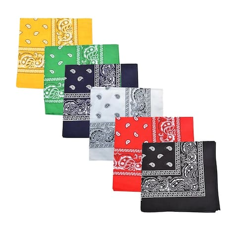 Mechaly Cotton Decoration and 22 x 22 In Bandana - Paisley and Solid - One Size Fits Most