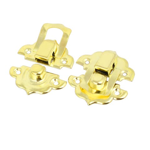 32mmx29mmx8mm Screw Fixed Catches Latches Locks Gold Tone 2pcs for Box Case