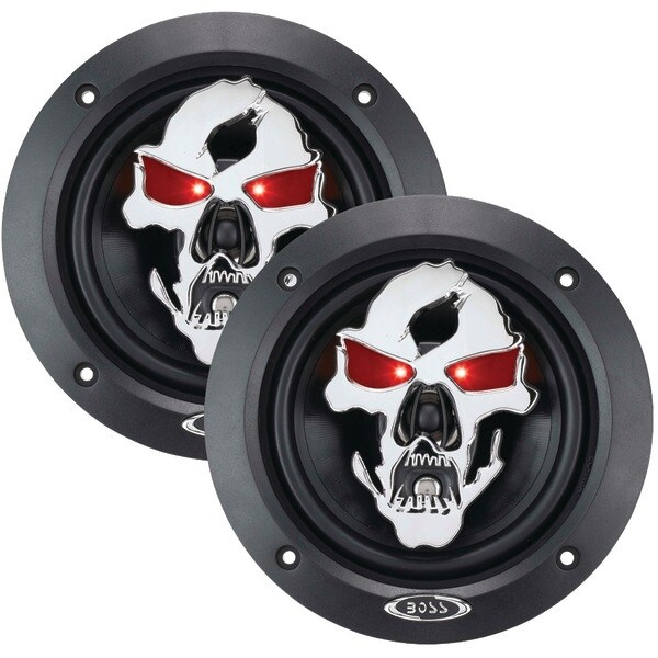 """BOSS AUDIO SK553 Phantom Skull Series 3-Way Black Injection Cone Speakers with Custom-Tooled Removable Skull Covers (5.25"""")"""