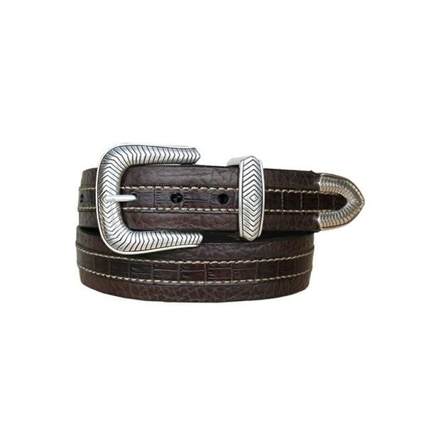 Vintage Bison Western Belt Men Coloma Leather Croc Print Brown