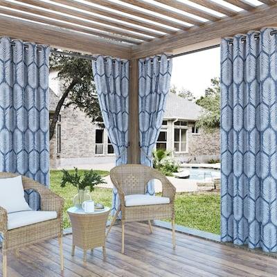 Sun Zero Borneo Tropical Foliage Indoor Outdoor UV Protectant Room Darkening Grommet Curtain Panel