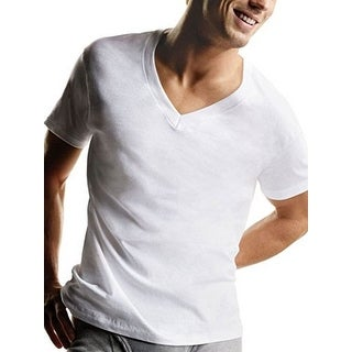 Hanes Mens Tagless V-Neck Shirt, White, L