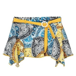 Azul Girls Yellow Blue Paisley Print Sash Adorned Urban Boho Skirt