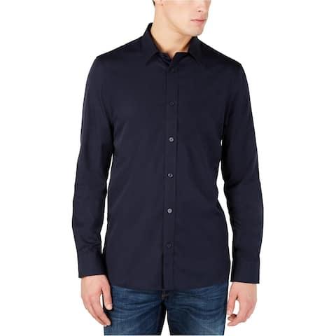 Calvin Klein Mens Cotton Cashmere Button Up Shirt, Blue, XX-Large