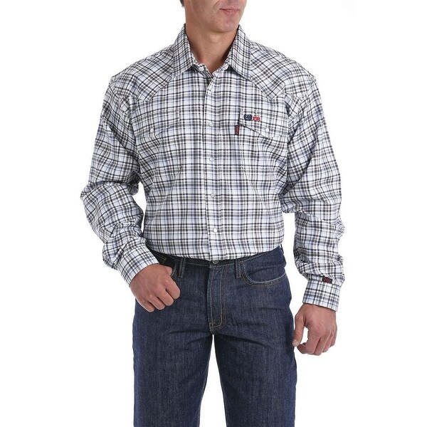 Cinch Work Shirt Men Long Sleeve Flame Resistant Geo Print. Opens flyout.