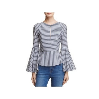 Milly Womens Luna Blouse Silk Blend Striped