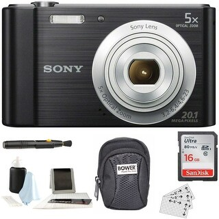 Sony Cyber-shot W800 Compact Digital Camera (Black) with Accessory Bundle