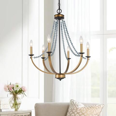 "Mid-century Modern Gold 6-light Crystal Beads Chandelier for Living/ Dining Room Bedroom - D25"" x H28.3"""