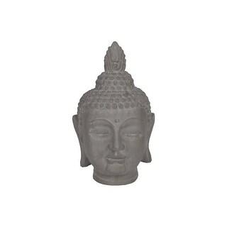 Ceramic Buddha Head Figurine With Pointed Ushnisha, Grey