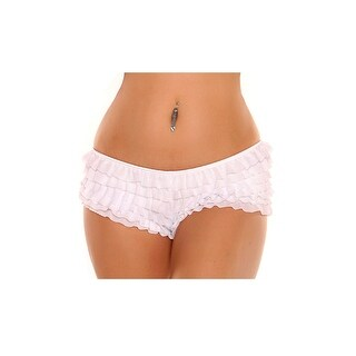 Plus Size White Ruffle Panty With Bow, Plus Size Ruffle Boyshort