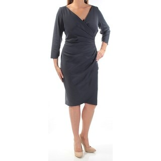 Womens Gray 3/4 Sleeve Below The Knee Sheath Evening Dress Size: 14W