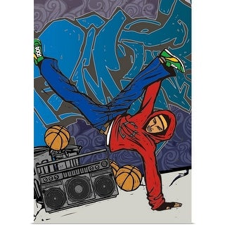 Poster Print entitled Man dancing in front of a graffiti covered wall - multi-color