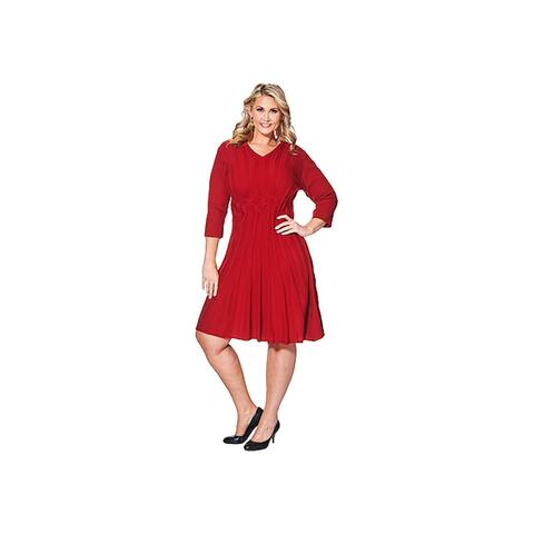 CONNECTED APPAREL Red 3/4 Sleeve Knee Length Sheath Dress Size 2X