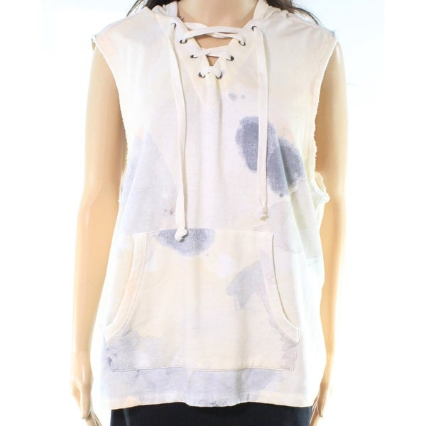 Alternative NEW White Ivory Womens Size Small S Lace Up Hooded Sweater