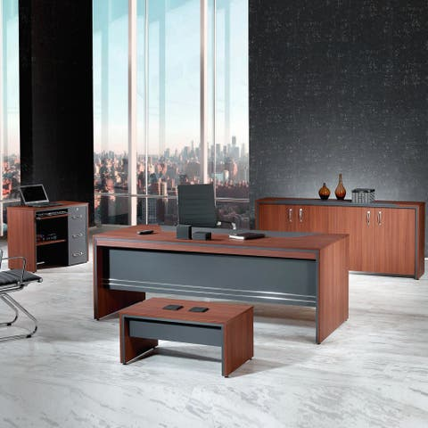 Copper Grove Higuerote 4-piece 71-inch Oak and Grey Office Desk Set