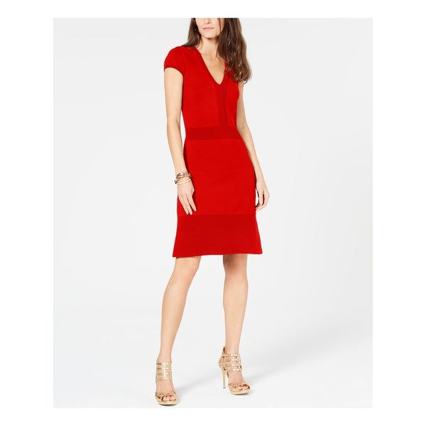 Shop MICHAEL KORS Womens Red Ottoman Ribbed Cap Sleeve V