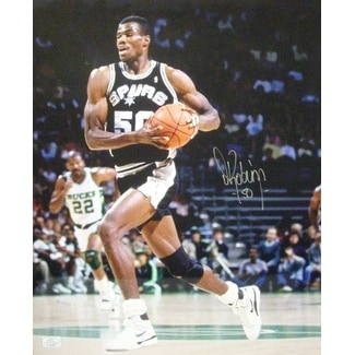 best website dcbff 3ba53 David Robinson signed San Antonio Spurs 16x20 Photo black jersey