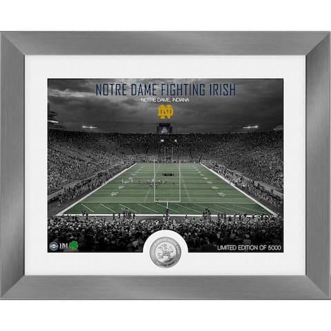 Notre Dame Fighting Irish Art Deco Stadium Silver Coin Photo Mint - 13X16