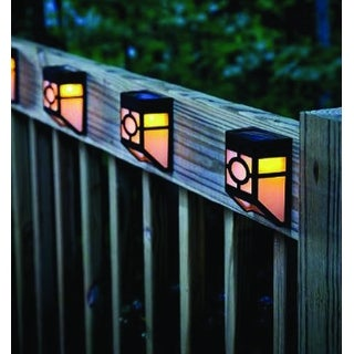 Kanstar Pack of 4 Solar Powered Outdoor Landscape Warm Light for Garden Yard Fence