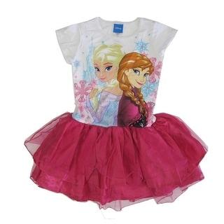 Disney Little Girls Fuchsia Elsa Anna Print Ruffle Tutu Dress 4-6X