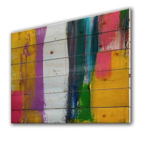 Designart 'Oil Brushed Colorfields IV' Modern Print on Natural Pine Wood
