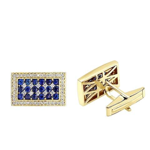 Mens Sapphire & Diamond Cufflinks 0.55ctw in 14k Gold by Luxurman