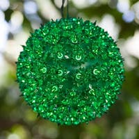 "Wintergreen Lighting 70183 6"" Starlight Sphere with 50 Green Lights"