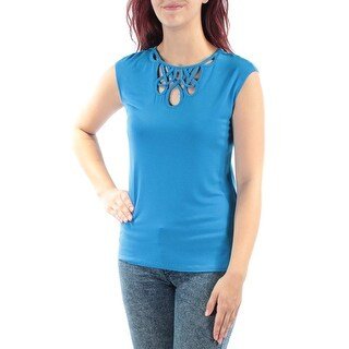 INC International Concepts Petite CutOut Cap-Sleeve Top, Blue