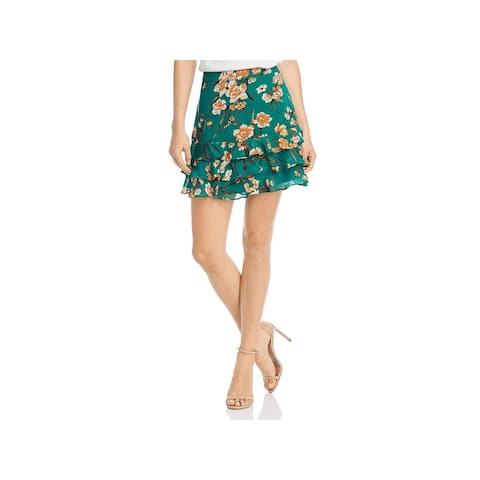 Bardot Womens A-Line Skirt Chiffon Floral Print - Orange Flower