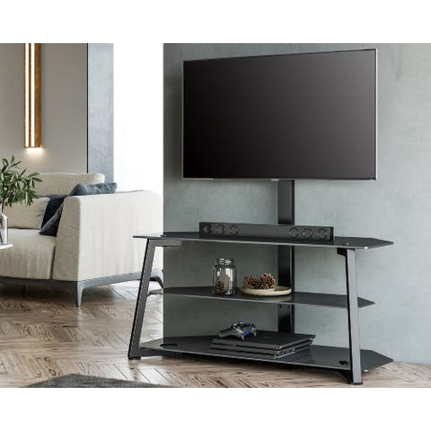 FITUEYES Floor TV Stand for 37-70 Inch TVs up to 99LBS with Glass Base