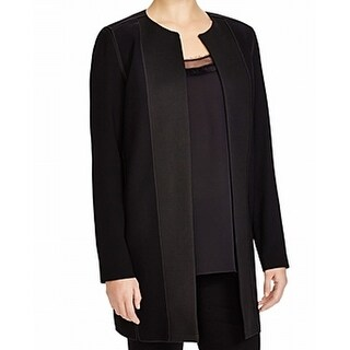 Elie Tahari NEW Black Womens Size Large L Clasp-Front Seamed Jacket
