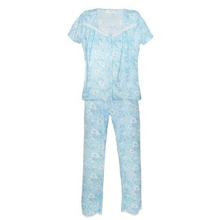 Sag Harbor Women's Short Sleeve Long Leg Pajama Set
