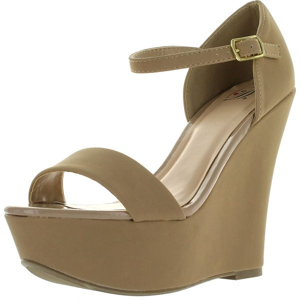9b5807e4483 Delicious Womens Wiley Faux Nubuck Leather Mary Jane Platform Wedge Heel -  Oat