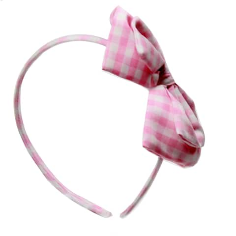 Richie House Pink Gingham Headband with Bow - Standard