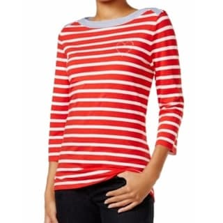 Tommy Hilfiger NEW Red Women's Size Small S Striped Boat Neck Knit Top