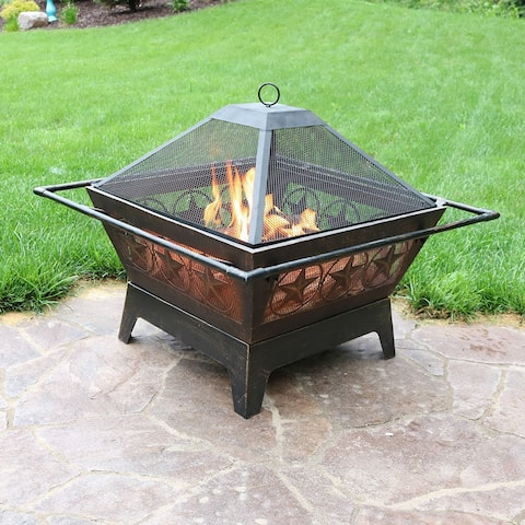 """Sunnydaze 32"""" Fire Pit Steel Northern Galaxy Design with Cooking Grate and Poker"""