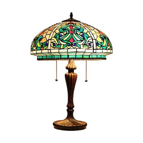 Tiffany-Style Victorian Design 2-light Dark Bronze Table Lamp