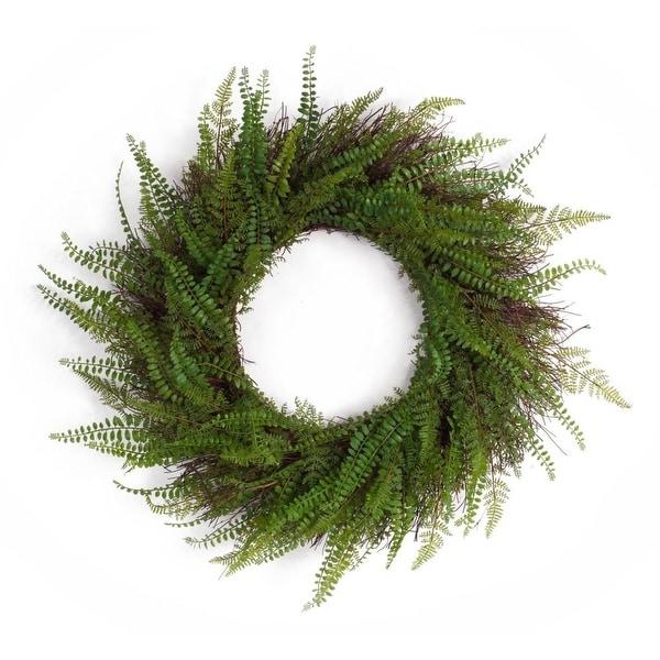 "Set of 2 Artificial Wispy Green Springtime Fern Wreath 28"""