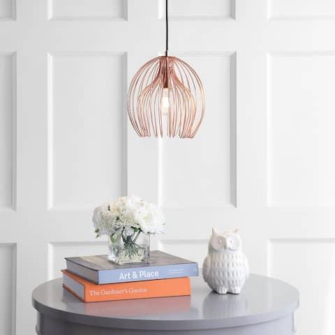 "SAFAVIEH Lighting Deena Adjustable 1-light LED Copper Pendant - 10.3""x10.3""x12.25-84.25"""