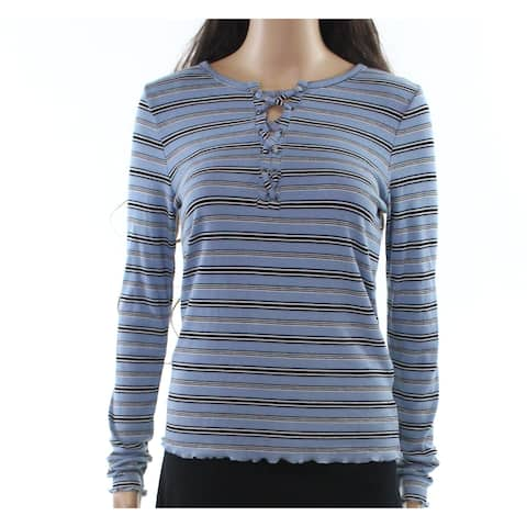 Pink Rose Sky Womens Large Lace-Up Striped Knit Top