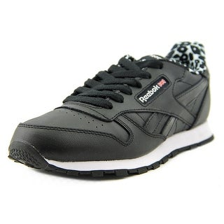 Reebok Classic Leather Animal Youth Round Toe Leather Black Sneakers