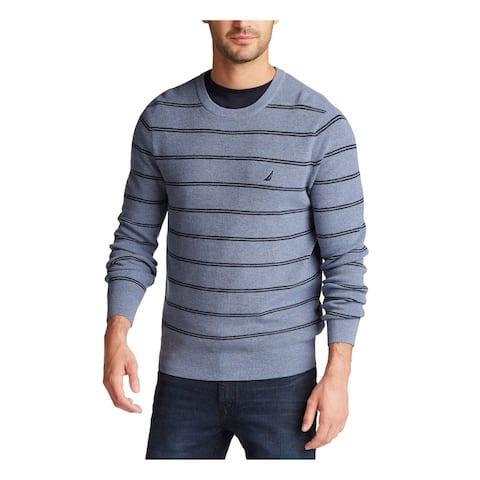 NAUTICA Mens Light Blue Striped Crew Neck Classic Fit Cotton Blend Sweater XXL