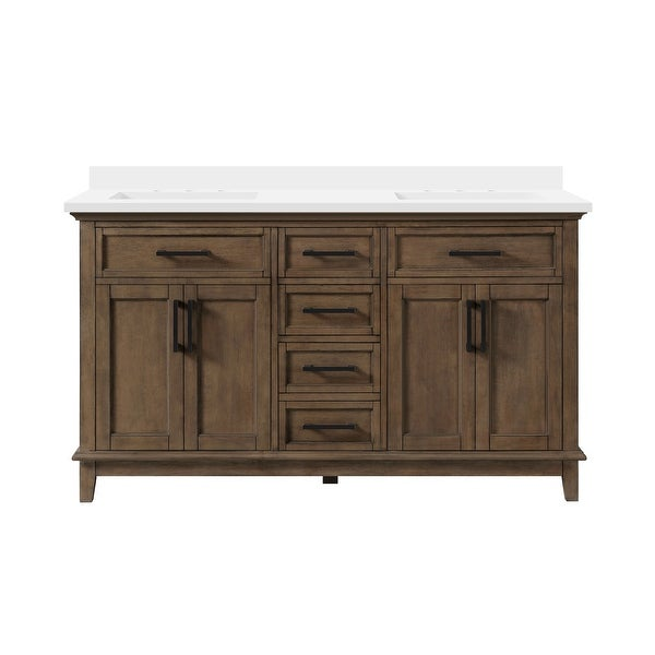 OVE Decors Derry 60 in. Double Sink Vanity Almond Latte Power Bar. Opens flyout.